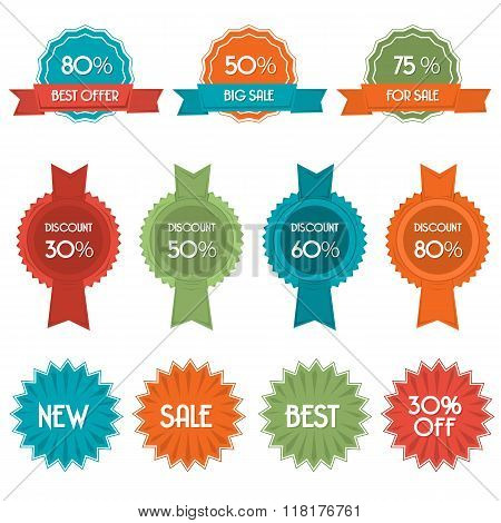 Vector Set Of Eleven Discount Badges And Labels