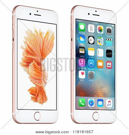 Rose Gold Apple Iphone 6S Slightly Rotated Front View With Ios 9 And Dynamic Wallpaper On The Screen