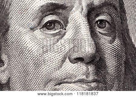 Benjamin Franklin, a close-up portrait