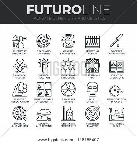 Biochemistry And Genetics Futuro Line Icons Set