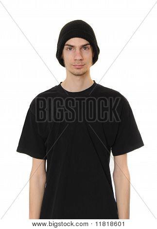White Dude Wearing Black Beanie Hat
