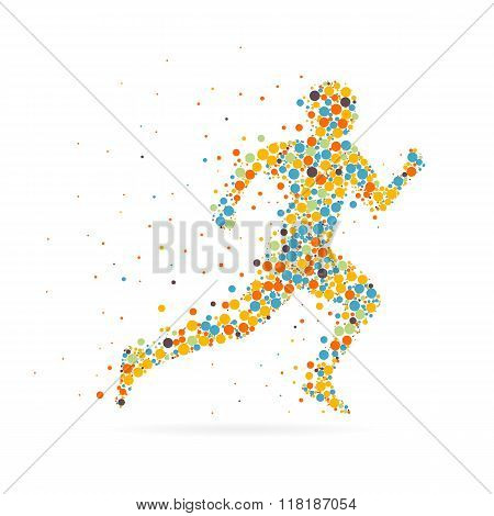 Abstract Creative concept vector image of running man for Web and Mobile Applications isolated on ba