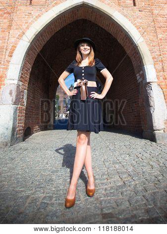 Retro Style Fashion Woman On The Street