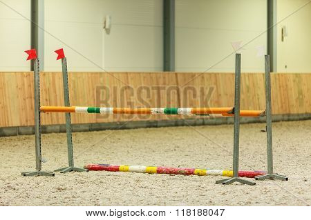 Equitation. Obstacle For Jumping Horses.