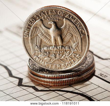 quarter dollar on newspaper chart