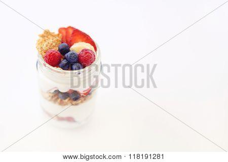 Yogurt, berries and cereal breakfast