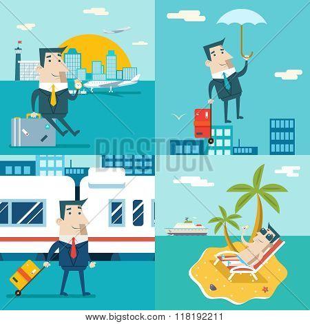 Businessman Cartoon Character Travel Train Ship Airplane Mobile Business Marketing Urban Sky Backgro