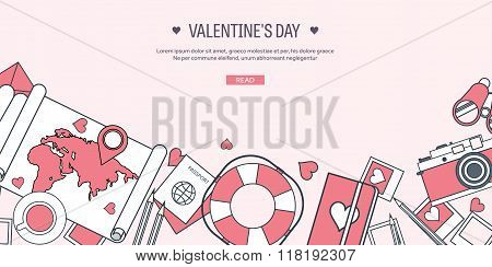 Vector illustration. Flat travel background with map, photocamera,papers. Love, hearts. Valentines d