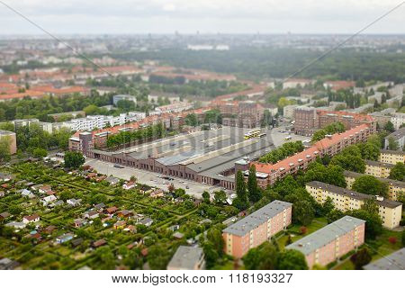 Tilt shift aerial view of Berlin