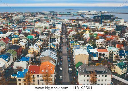 Tilt shift aerial view of Reykjavik