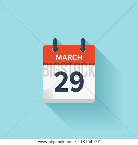 March 29. Vector Flat Daily Calendar Icon. Date And Time, Day, Month. Holiday.