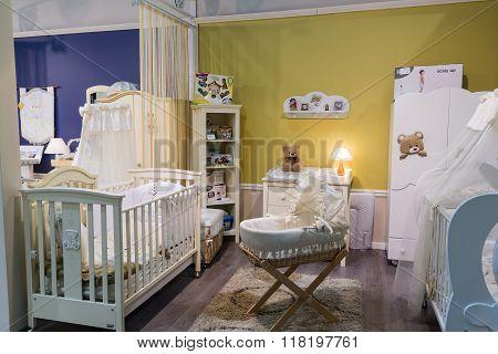 Khimki, Russia - February 13. 2016. Children's furniture in Grand Furniture shopping, a largest specialty shop.