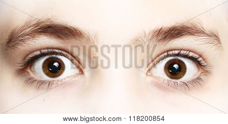 Close Up Photo Of Boy Eyes Wide Open