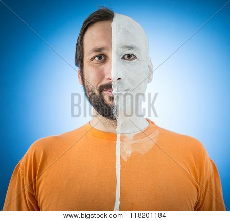 Face in two sides parts of man