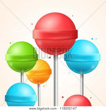 Sweet Candy Colorful Lollipops Background. Vector