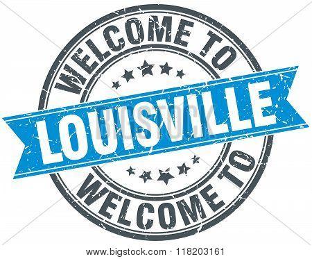 welcome to Louisville blue round vintage stamp
