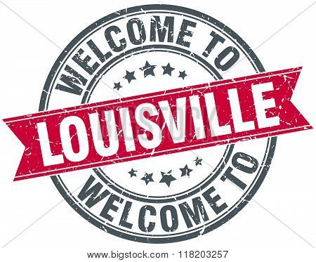 welcome to Louisville red round vintage stamp