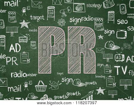 Advertising concept: PR on School Board background