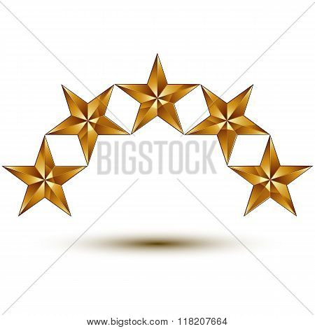 3D Vector Classic Royal Symbol, Sophisticated Golden Round 5 Stars Isolated On White Background, Glo