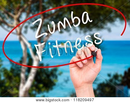Man Hand Writing Zumba Fitness With Black Marker On Visual Screen