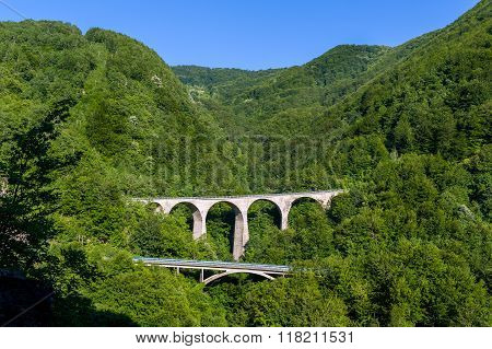 Old stone bridges in the mountain  canyon of Montenegro