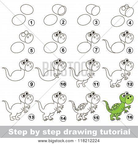 Tyrannosaurus. Drawing tutorial.