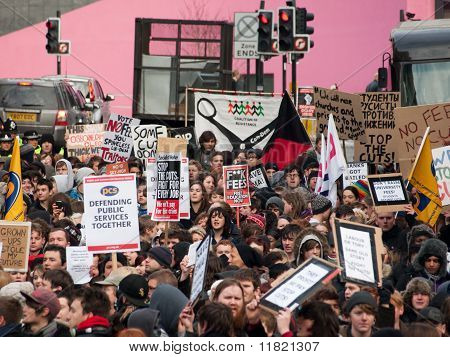 Newcastle, UK - Dec 9: Uk University And College Students Protest Against Increase In Tuition Fees