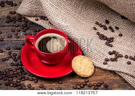Coffee Cup With Biscuit And  Gunny Textile