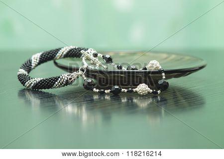 Handmade Bracelet With Beaded Crocheted Rope