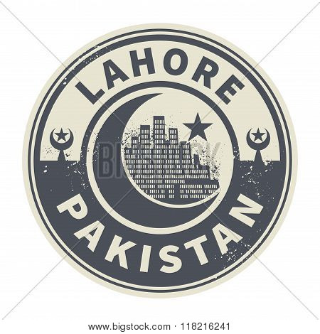 Stamp With Text Lahore, Pakistan Inside