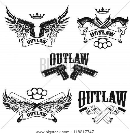 Set Of Outlaw T-shirt Print Design Templates