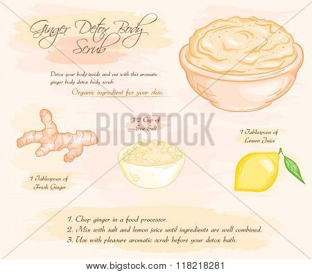 Vector Hand Drawn Illustration Of Ginger Detox Salt Scrub Recipe