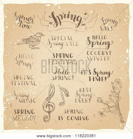 Vector Set Of Hand-written Spring Brush Lettering On Old Vintage Paper.