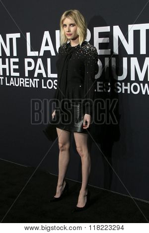 LOS ANGELES - FEB 10:  Emma Roberts at the SAINT LAURENT At The Palladium at the Hollywood Palladium on February 10, 2016 in Los Angeles, CA