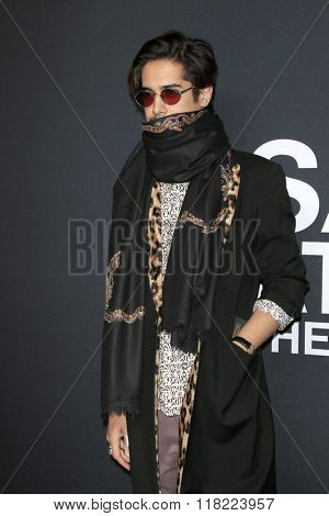 LOS ANGELES - FEB 10:  Avan Jogia at the SAINT LAURENT At The Palladium at the Hollywood Palladium on February 10, 2016 in Los Angeles, CA