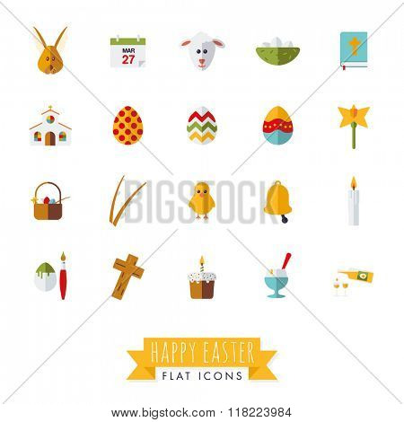 Easter Flat Design Vector Icon Set. Collection of 20 Happy Easter Flat Design Icons on white background