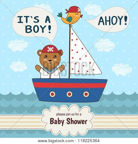 Cute baby shower invitation card It's a boy