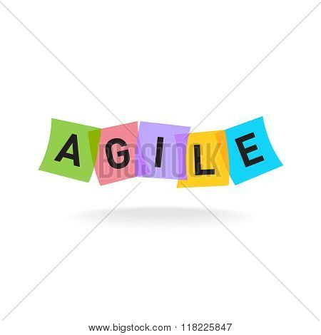 Agile Word Logo. Agile Letters With Overlay Color Square Office Stickers. Transparency Are Flattened