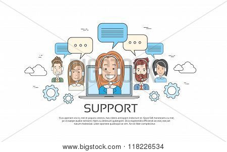 Support Concept Business People Group Technical Team On Line Chat