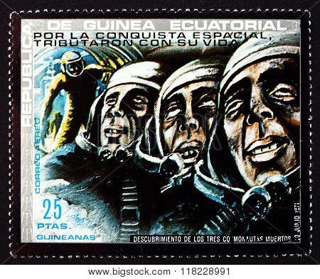 Postage Stamp Equatorial Guinea 1972 Dead Cosmonauts, Soyuz 11