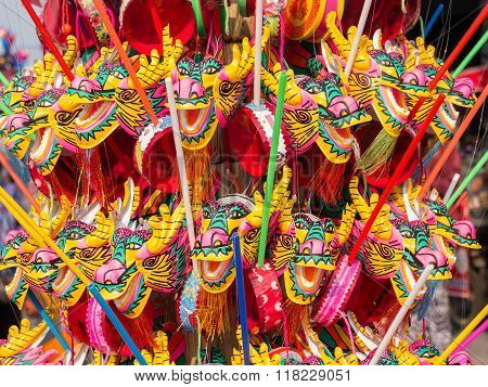 Colorful Dragon Plastic And Paper Toy For Chinese New Year