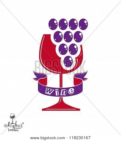 Winery idea vector illustration. Elegant glass of wine with grapes cluster and decorative ribbon racemation symbol best for use in advertising and graphic design. Alcohol theme element.