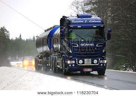 Blue Scania Euro 6 Tank Truck In Traffic