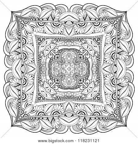 Vector Beautiful Deco Monochrome Contour Square