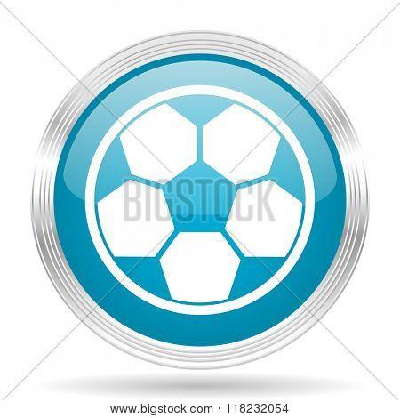 soccer blue glossy metallic circle modern web icon on white background