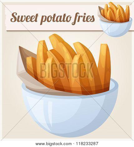Sweet potato fries. Detailed vector icon