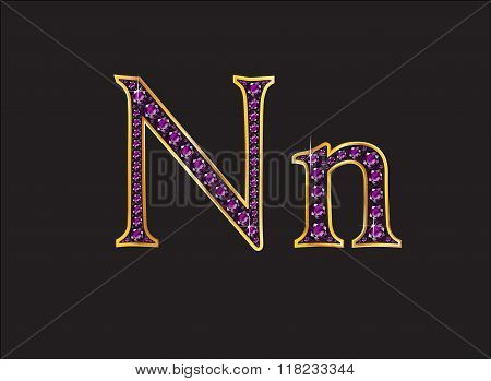 Nn Amethyst Jeweled Font With Gold Channels