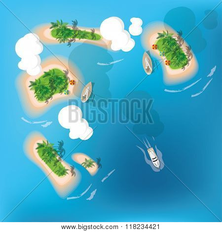 Atoll. Tropical island. View from the top. Vector illustration.