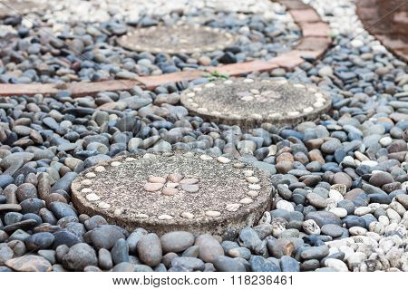 Garden Stone Path With Pebble Stone