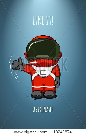 Hand Drawn Astronaut In Spacesuit. Line Art Cosmic Vector Illustration. Thumbs Up. Like.